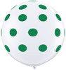 "36"" Big Standard Green Polka Dots on White Latex Balloons"