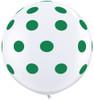 "36"" Big Standard Green Polka Dots on White Latex Balloons"