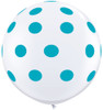 "36"" Big Tropical Teal Polka Dots on White Latex Balloons"