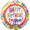 "28"" Singing Birthday Dots Mylar Foil Balloon"