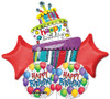 Fun Cake Birthday  Bouquet Mylar Foil Balloons