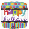 "18"" Birthday Dots and Stripes Mylar Foil Balloon"