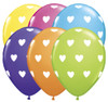 "11"" Big Hearts Tropical Assortment Latex Balloons"