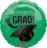"17"" Congrats Grad (Graduation) Hat Green Foil Balloon"