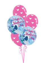 This Happy Mother's Day Balloon Bouquet includes 2 foil Happy Mother's Day balloons and 3 latex balloons.  Prints may vary depending on stock on hand.  If you have a specific request (ie color or theme) please add a note to the order at checkout.  Sample themes include:  floral, butterflies, from young child, etc.)