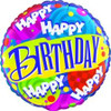 "18"" Birthday Circles and Swirls Mylar Foil Balloon"