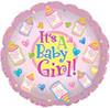 "18"" It's a Baby Girl Bottles Mylar Foil Balloon"