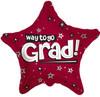 "18"" Way To Go Grad Stars Burgundy Mylar Foil Balloon"