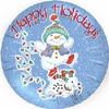 "18"" Happy Holidays Dancing Snowmen  Mylar Foil Balloon"