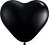 "Heart  6"" Jewel Onyx Black Latex Balloons"