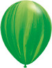 "Round 11"" Green Rainbow Agate Latex Balloons"