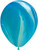 "Round 30"" Blue Rainbow SuperAgate Latex Balloons"