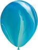 "Round 30"" Blue Rainbow SuperAgate Latex Balloons"