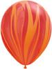 "Round 11"" Red Orange Rainbow SuperAgate Latex Balloons (51752)"