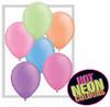 """Round 11"""" Neon Assortment Latex Balloons - 100 Ct (74589)"""