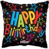 "18"" Birthday On Black Mylar Foil Balloon"