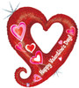 "37"" Chain Of Hearts Valentine Shape Mylar Foil Balloon"