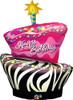 "41"" Funky Zebra Birthday Cake Shape Mylar Foil Balloon"