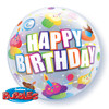 "22"" Bubble Birthday Colorful Cupcakes Mylar Foil Balloon"