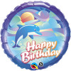 "18"" Birthday Jumping Dolphin Mylar Foil Balloon"