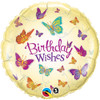 "18"" Birthday Wishes Butterfly Mylar Foil Balloon"