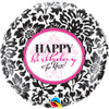 "18"" Birthday Elegant Damask Mylar Foil Balloon"
