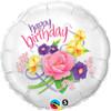 "18"" Birthday Floral Bouquet Mylar Foil Balloon"