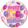 "18"" 1st Birthday Balloon & Hearts Mylar Foil Balloon"