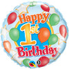 "18"" 1st Birthday Balloon & Stars Mylar Foil Balloon"
