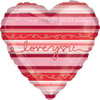 "18"" Stripes I Love You Mylar Foil Balloon"