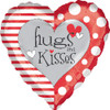 "18"" Hugs and Kisses Red & White Mylar Foil Balloon"
