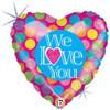 """18"""" We Love You Polka Dots Mylar Foil Balloon"""
