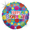 "18"" Dot Dot Birthday Mylar Foil Balloon"