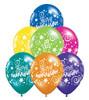 """11"""" Anniversary Stars and Swirls Fantasy Jewel Assortment Latex Balloons"""