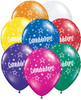 "11"" Congratulations Star Pattern Jewel Assortment Latex Balloons"