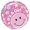 "21"" Mighty Smiley Baby Girl Non-Mylar Foil Balloons"