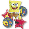 5 Balloon Spongebob Birthday Balloon Bouquet Combo Mylar Foil Balloons