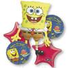 5 Balloon Spongebob Birthday Balloon Bouquet Combo Mylar Foil Balloons