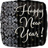 "18"" Happy New Year's Black Mylar Foil Balloon"