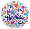 "18""Happy Birthday Swirls and Hearts White Mylar Foil Balloon"