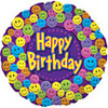 "18"" Happy Birthday Smiley Faces Mylar Foil Balloon"