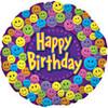 "18"" Happy Birthday Smiley Faces Mylar Foil Balloon"