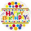 """18"""" Happy Birthday Bubblegum Clear Mylar Foil Balloon"""