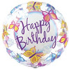"18"" Happy Birthday Clear Butterflies Mylar Foil Balloon"