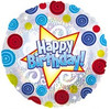 "18"" Happy Birthday Swirls Dots Mylar Foil Balloon"
