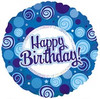"18"" Happy Birthday Blue Swirl Dazzeloon Balloon"