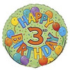 "18"" Happy 3rd Festive Birthday Mylar Foil Balloon"