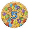 "18"" Happy 5th Festive Birthday Mylar Foil Balloon"