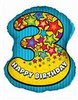 "25"" Number 3 Shaped Birthday Mylar Foil Balloon"