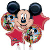 5 Balloon Mickey Mouse Birthday Balloon Bouquet Combo Mylar Foil Balloon